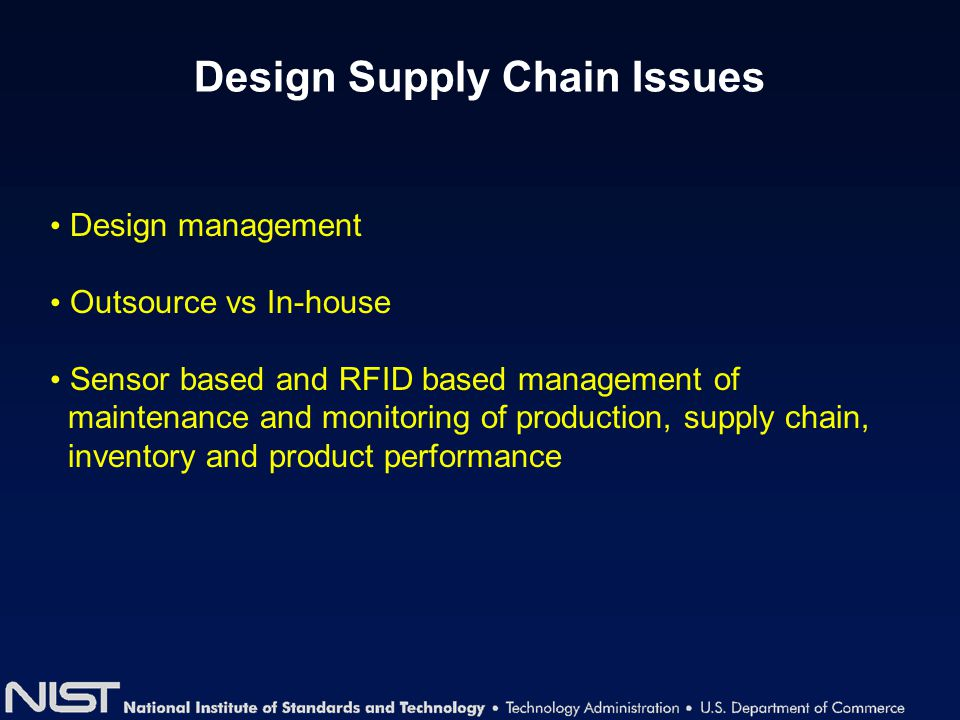 Design Supply Chain Issues Design management Outsource vs In-house Sensor based and RFID based management of maintenance and monitoring of production,