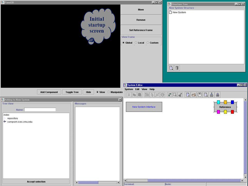 Initial startup screen