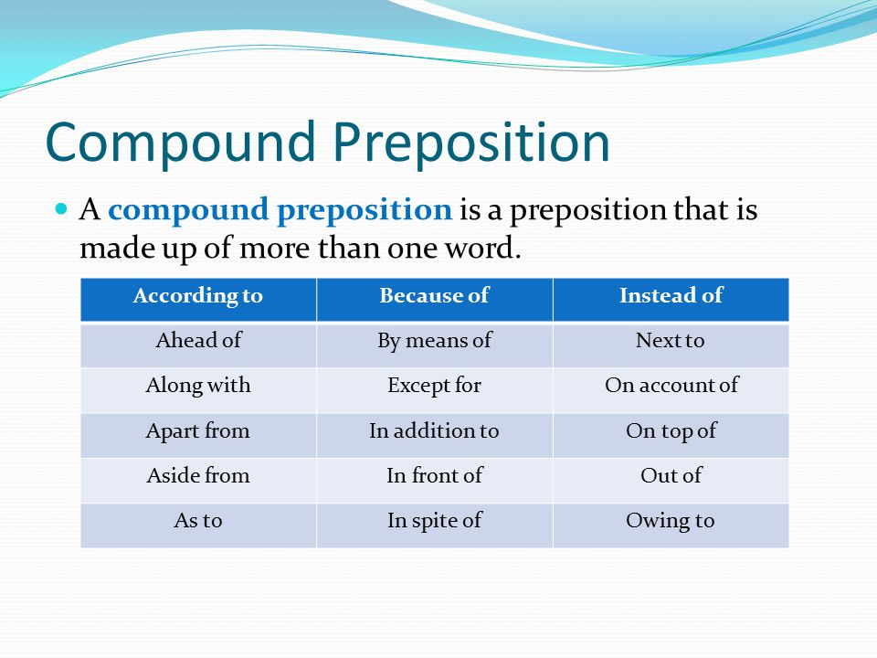 Compound Preposition A compound preposition is a preposition that is made up of more than one word. According toBecause ofInstead of Ahead ofBy means