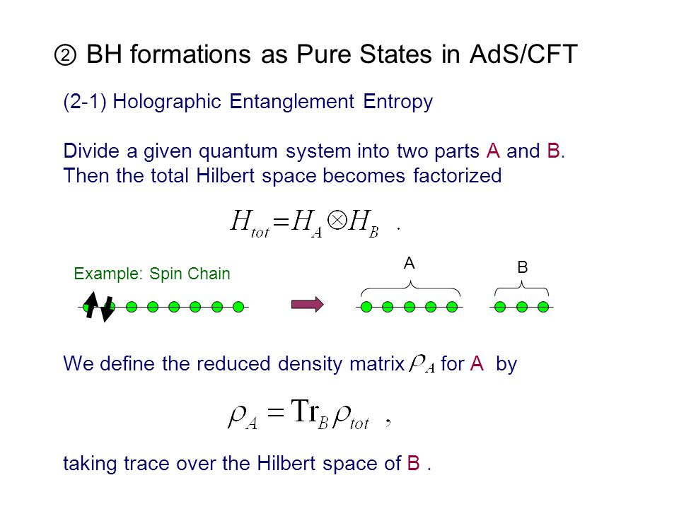 (2-1) Holographic Entanglement Entropy Divide a given quantum system into two parts A and B.