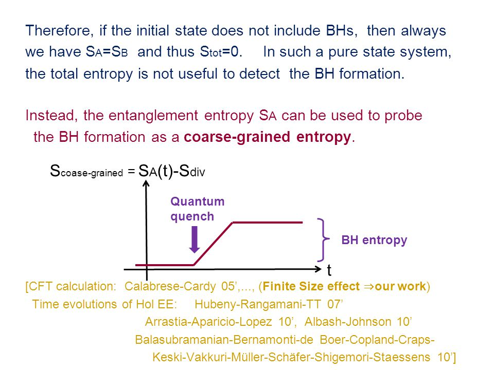 Therefore, if the initial state does not include BHs, then always we have S A =S B and thus S tot =0.