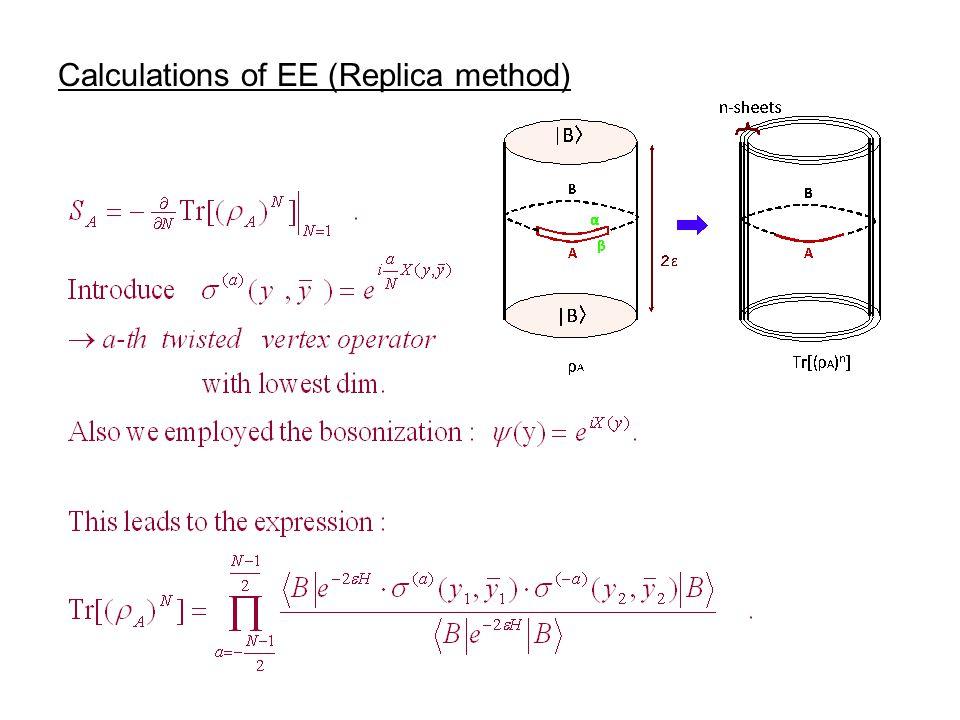 Calculations of EE (Replica method)
