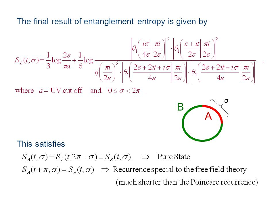 The final result of entanglement entropy is given by This satisfies σ B A