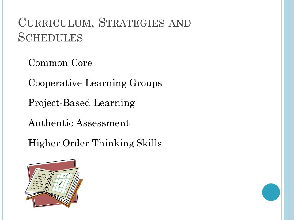 C URRICULUM, S TRATEGIES AND S CHEDULES Common Core Cooperative Learning Groups Project-Based Learning Authentic Assessment Higher Order Thinking Skills