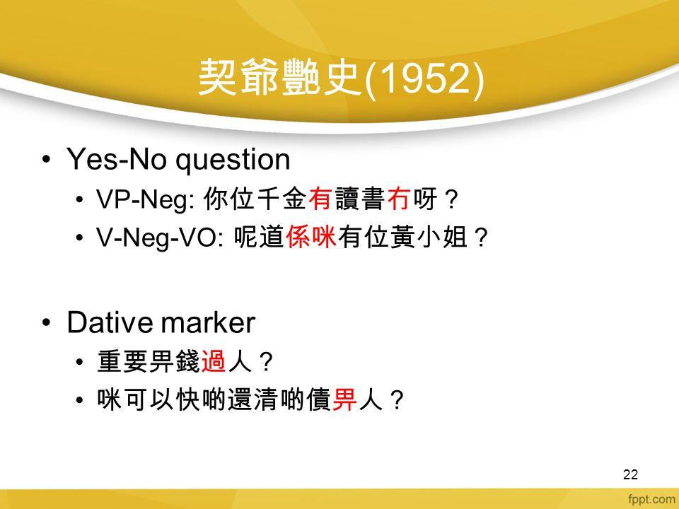 契爺艷史 (1952) Yes-No question VP-Neg: 你位千金有讀書冇呀? V-Neg-VO: 呢道係咪有位黃小姐? Dative marker 重要畀錢過人? 咪可以快啲還清啲債畀人? 22