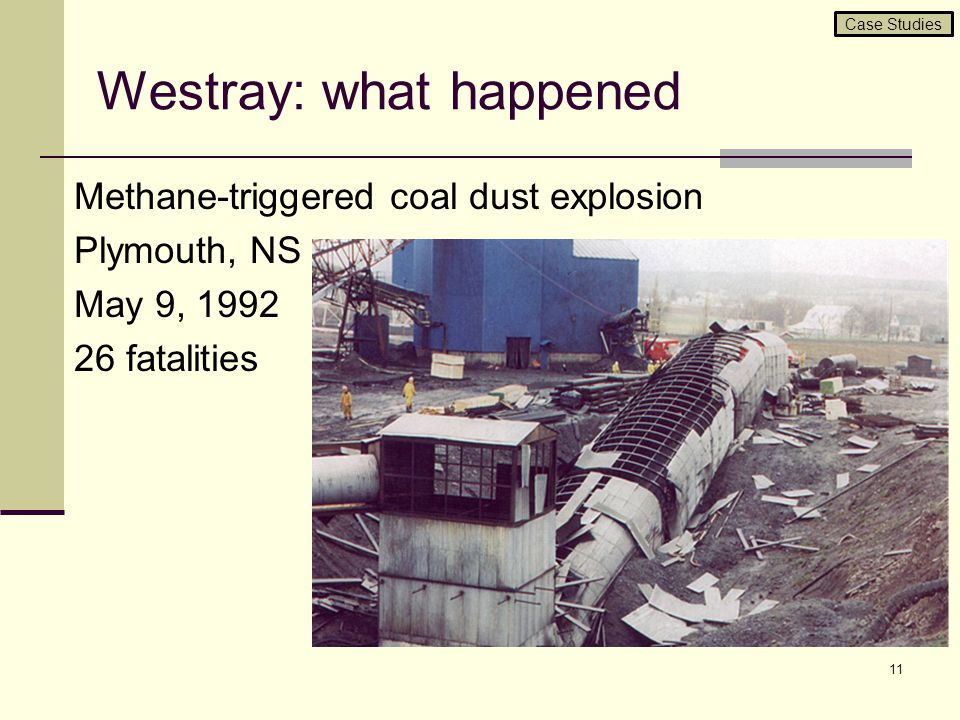 Westray: what happened Methane-triggered coal dust explosion Plymouth, NS May 9, 1992 26 fatalities 11 Case Studies