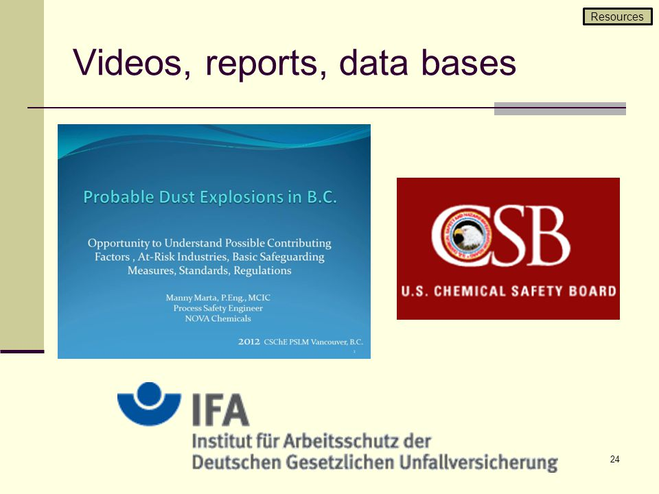 Videos, reports, data bases 24 Resources