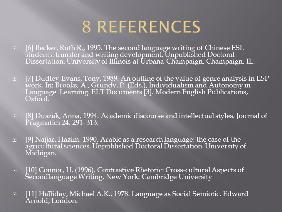  [6] Becker, Ruth R., 1995. The second language writing of Chinese ESL students: transfer and writing development. Unpublished Doctoral Dissertation.