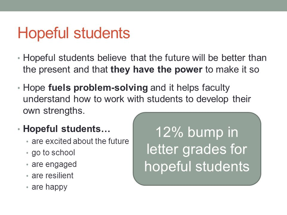 Hopeful students Hopeful students believe that the future will be better than the present and that they have the power to make it so Hope fuels problem-solving and it helps faculty understand how to work with students to develop their own strengths.