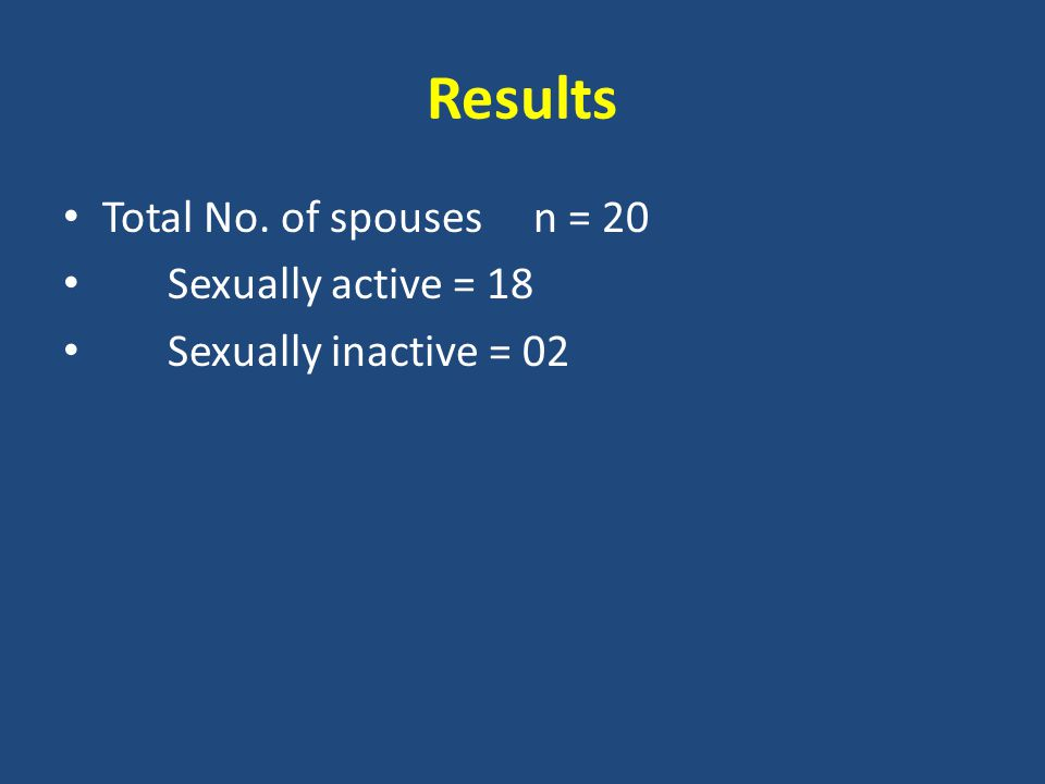 Results Total No. of spouses n = 20 Sexually active = 18 Sexually inactive = 02