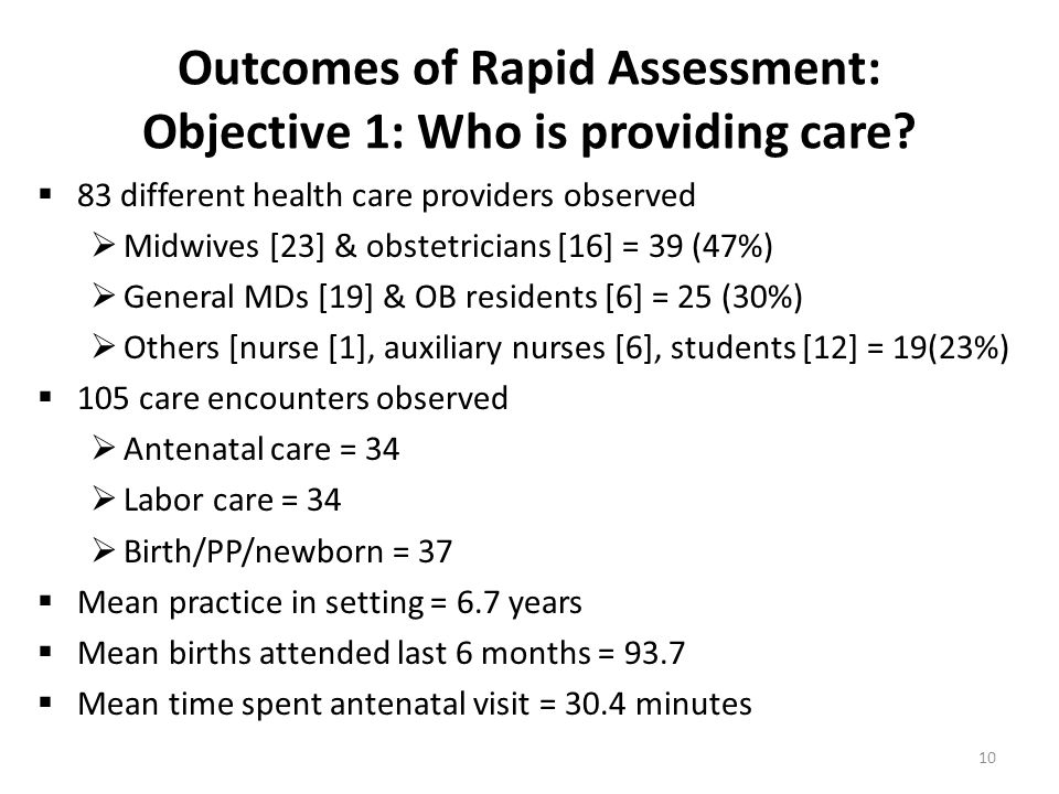 Outcomes of Rapid Assessment: Objective 1: Who is providing care?  83 different health care providers observed  Midwives [23] & obstetricians [16] =