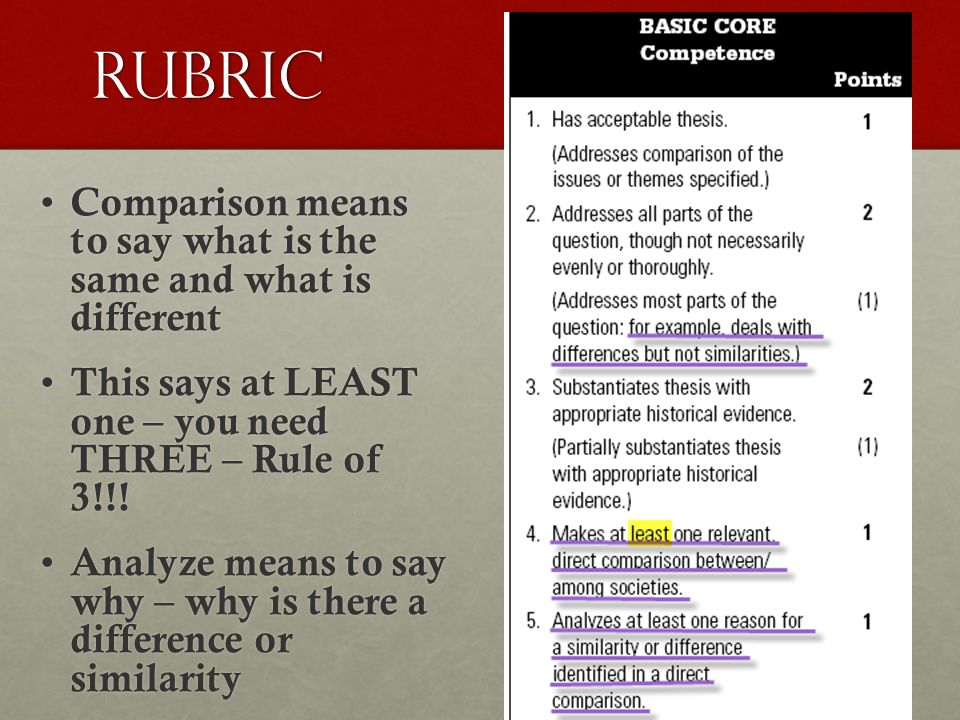 Rubric Comparison means to say what is the same and what is different Comparison means to say what is the same and what is different This says at LEAS
