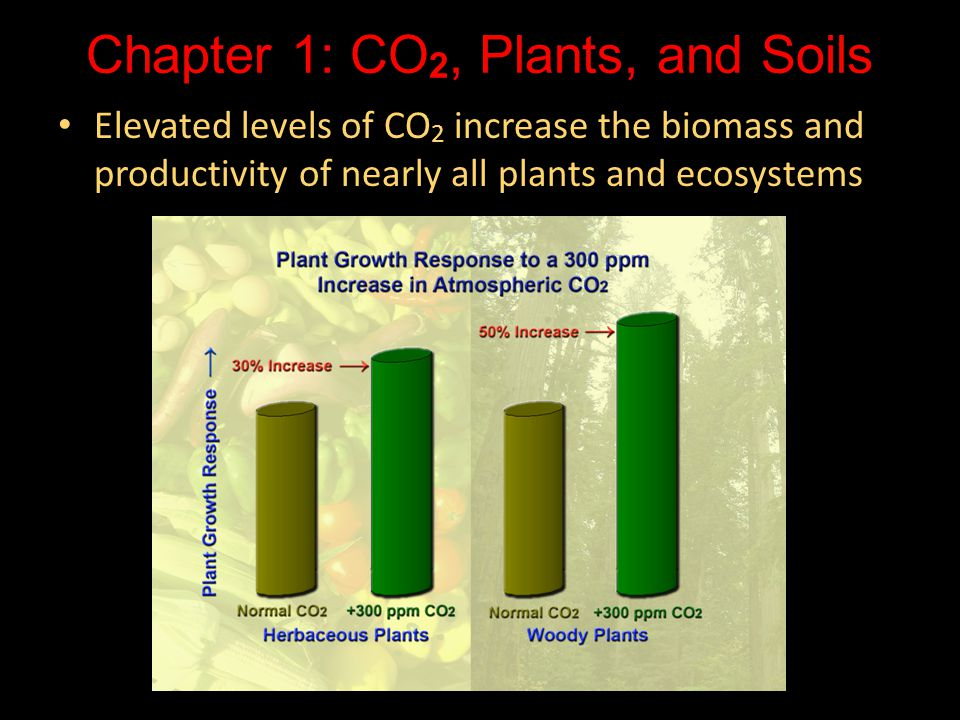 Chapter 1: CO 2, Plants, and Soils Elevated levels of CO 2 increase the biomass and productivity of nearly all plants and ecosystems Elevated levels o