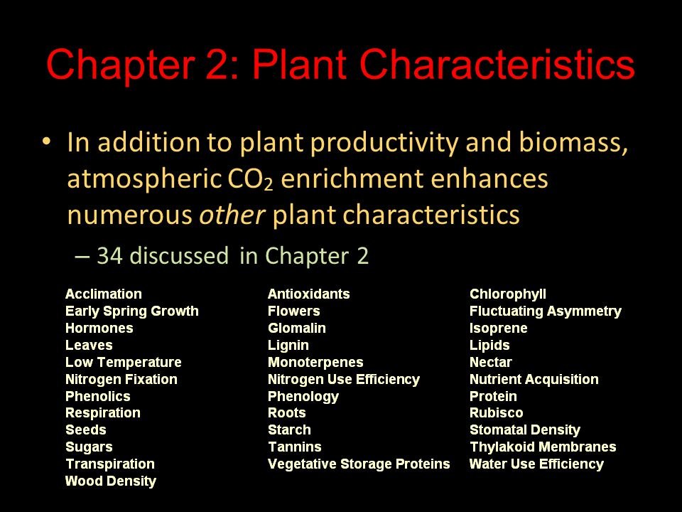 Chapter 2: Plant Characteristics In addition to plant productivity and biomass, atmospheric CO 2 enrichment enhances numerous other plant characterist