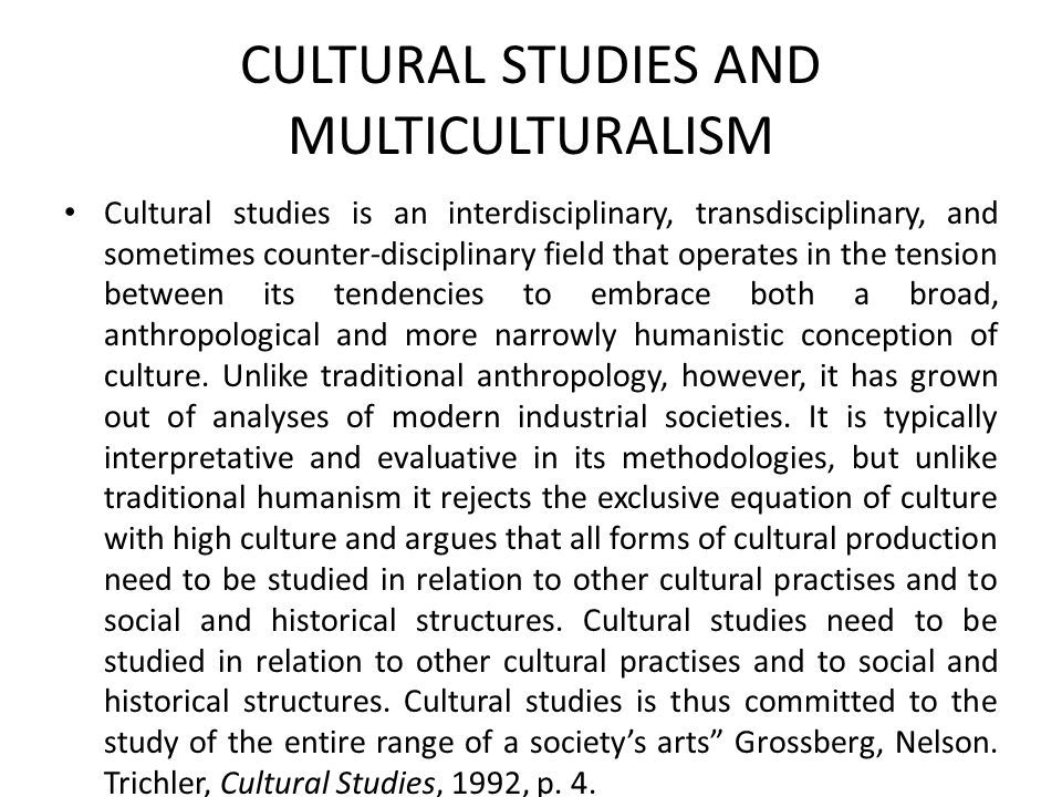CULTURAL STUDIES AND MULTICULTURALISM Cultural studies is an interdisciplinary, transdisciplinary, and sometimes counter-disciplinary field that opera