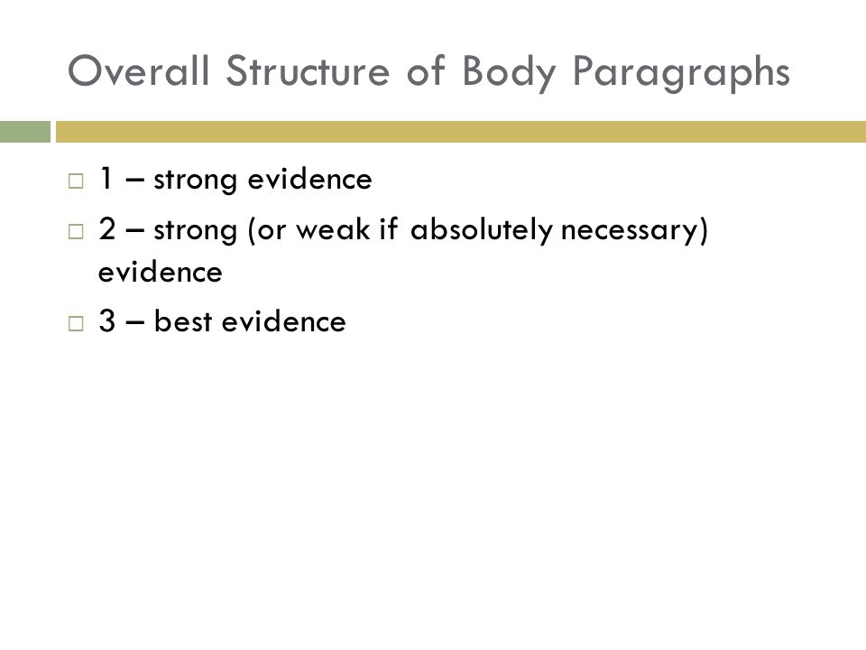 Overall Structure of Body Paragraphs  1 – strong evidence  2 – strong (or weak if absolutely necessary) evidence  3 – best evidence
