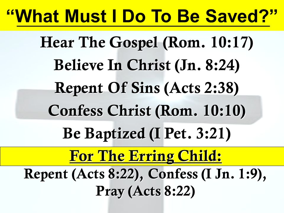 What Must I Do To Be Saved Hear The Gospel (Rom.