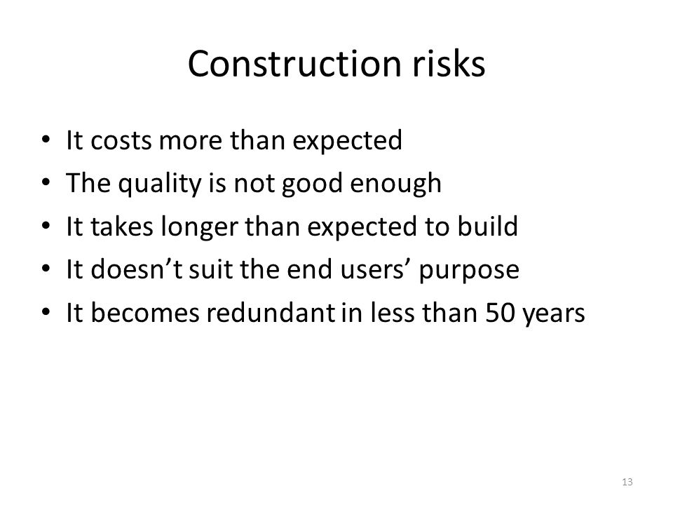Construction risks It costs more than expected The quality is not good enough It takes longer than expected to build It doesn't suit the end users' pu
