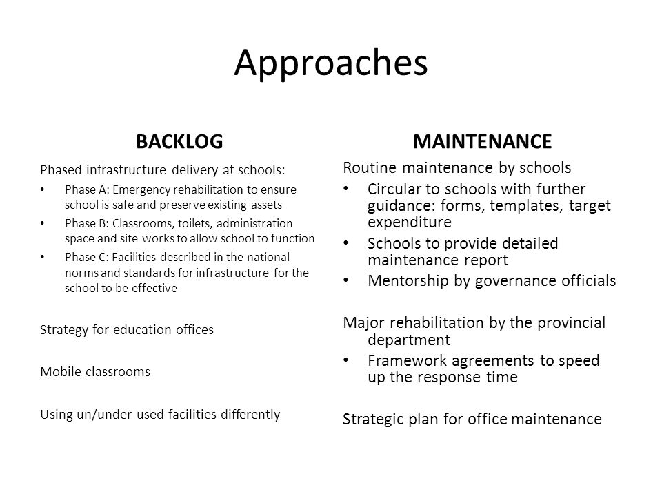 Approaches BACKLOG Phased infrastructure delivery at schools: Phase A: Emergency rehabilitation to ensure school is safe and preserve existing assets