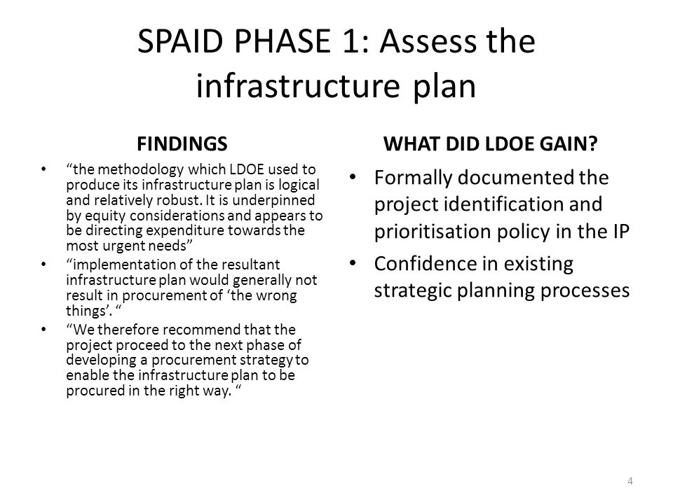 SPAID PHASE 2: Develop the generic procurement strategy WHAT'S IN THE GENERIC STRATEGY.