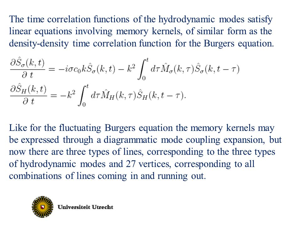 The time correlation functions of the hydrodynamic modes satisfy linear equations involving memory kernels, of similar form as the density-density time correlation function for the Burgers equation.