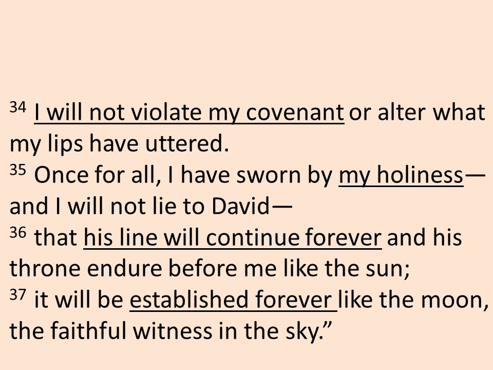 34 I will not violate my covenant or alter what my lips have uttered.
