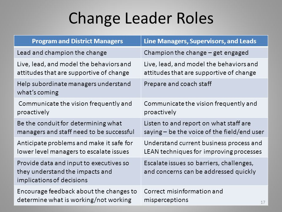 Change Leader Roles Program and District ManagersLine Managers, Supervisors, and Leads Lead and champion the changeChampion the change – get engaged L