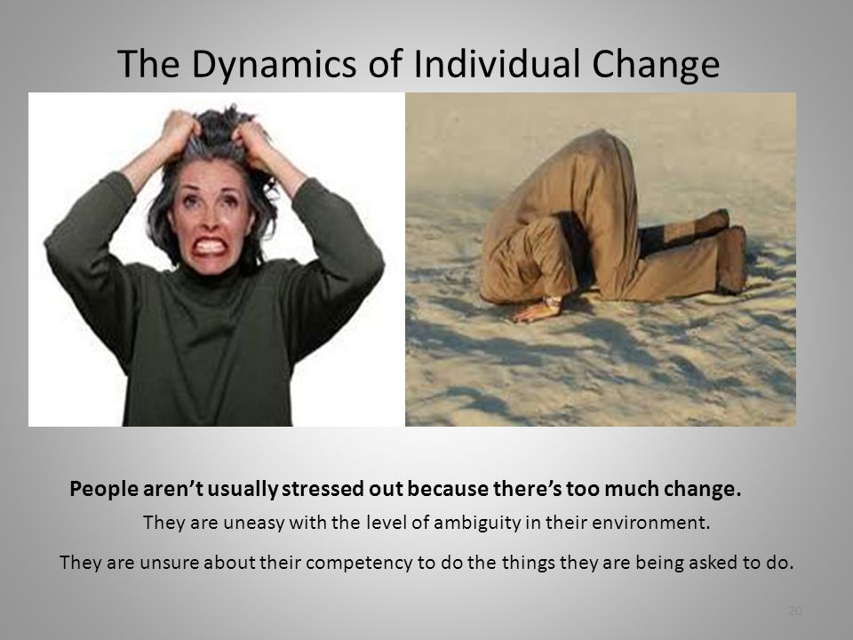 The Dynamics of Individual Change People aren't usually stressed out because there's too much change. They are uneasy with the level of ambiguity in t