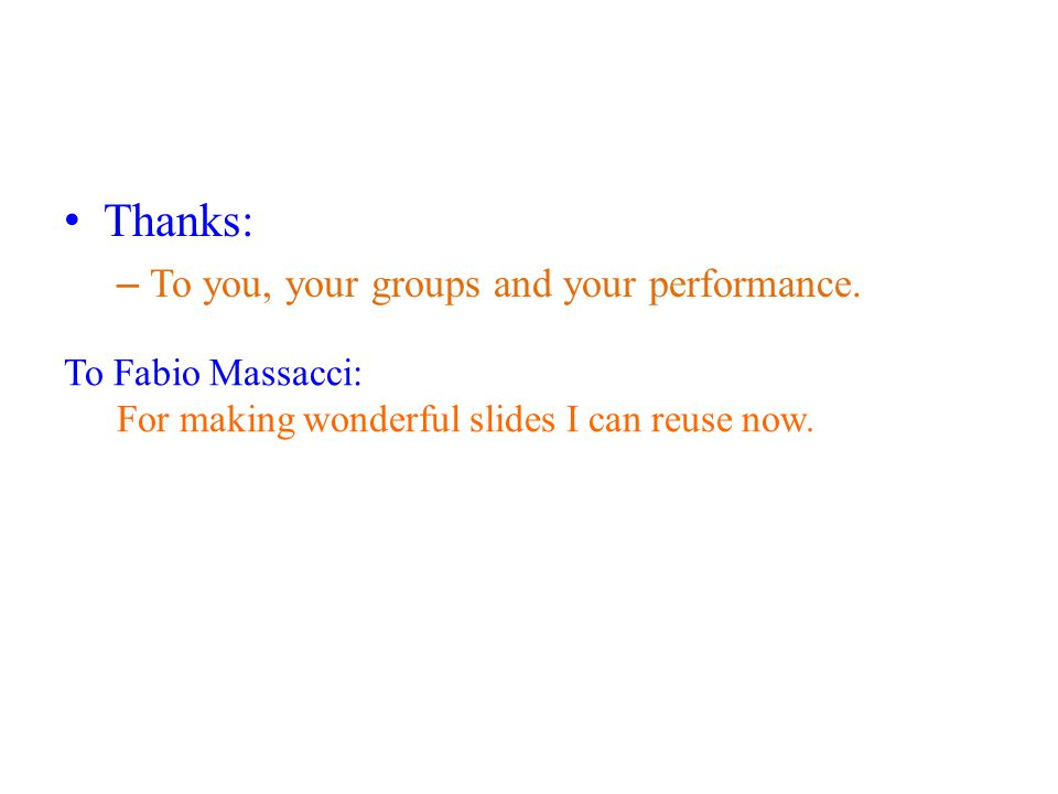 Thanks: – To you, your groups and your performance.