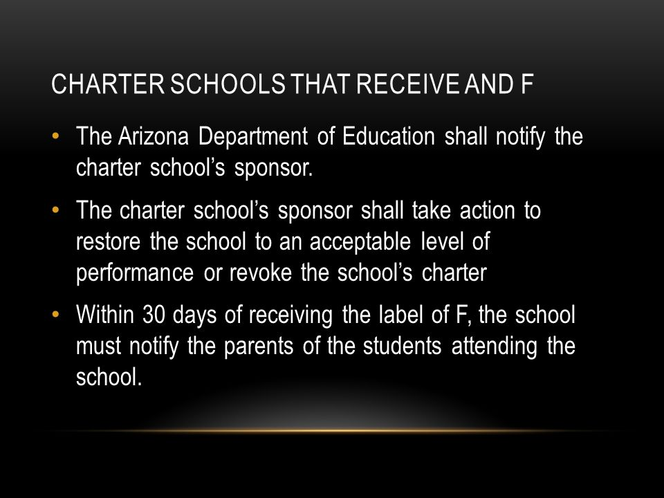 CHARTER SCHOOLS THAT RECEIVE AND F The Arizona Department of Education shall notify the charter school's sponsor.