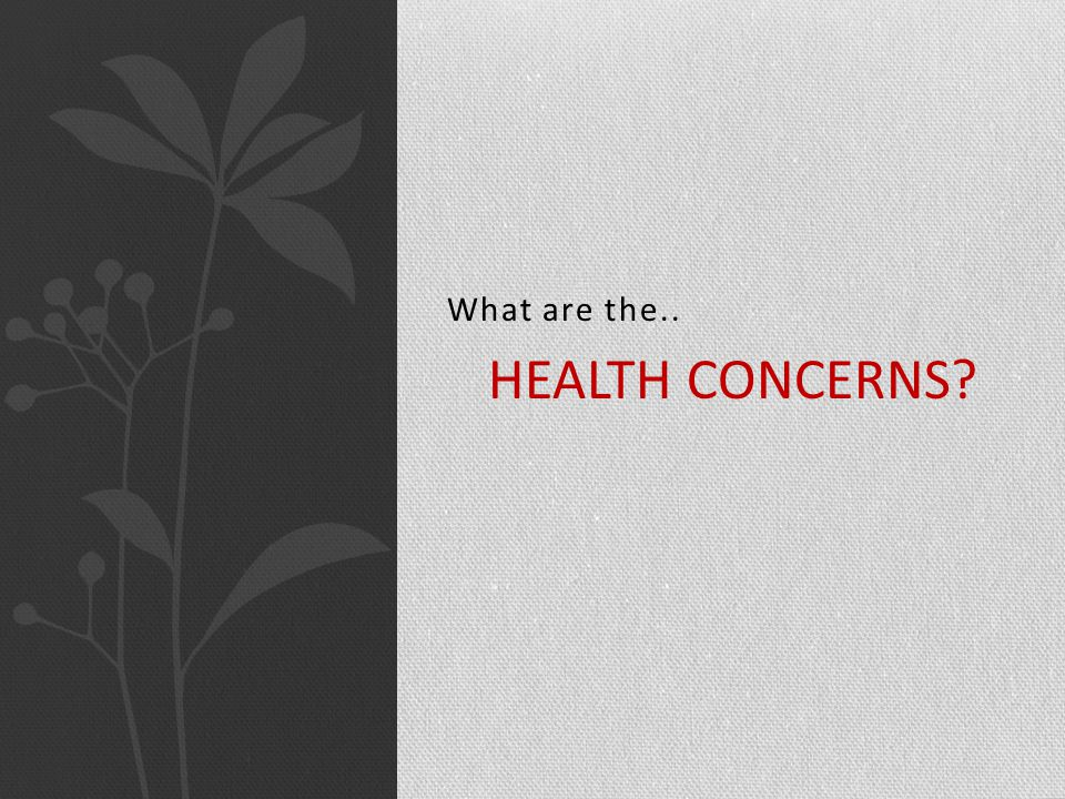 What are the.. HEALTH CONCERNS