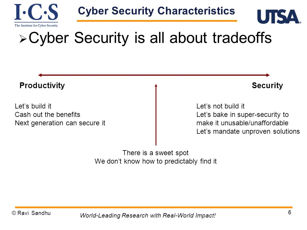 Cyber Security Characteristics  Cyber Security is all about tradeoffs © Ravi Sandhu 6 World-Leading Research with Real-World Impact.