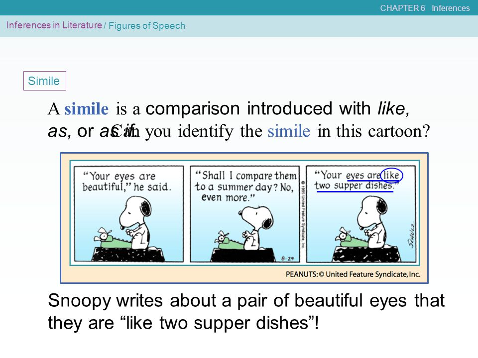 CHAPTER 6 Inferences / Figures of Speech Simile A simile is a comparison introduced with like, as, or as if. Snoopy writes about a pair of beautiful e