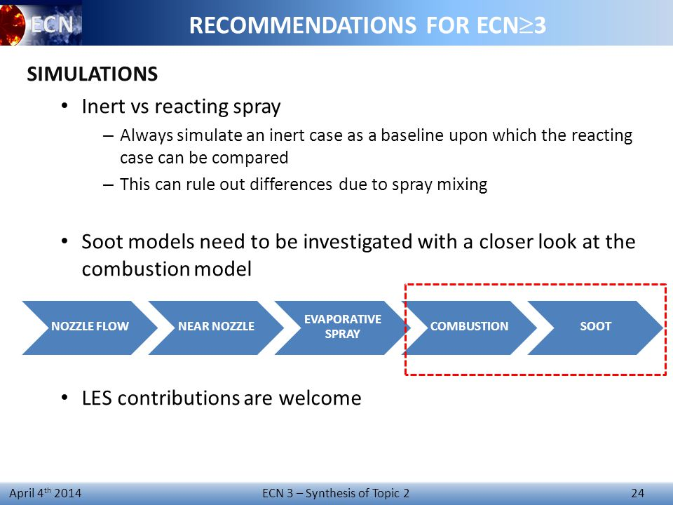 ECN 3 – Synthesis of Topic 2 24 April 4 th 2014 RECOMMENDATIONS FOR ECN  3 SIMULATIONS Inert vs reacting spray – Always simulate an inert case as a baseline upon which the reacting case can be compared – This can rule out differences due to spray mixing Soot models need to be investigated with a closer look at the combustion model LES contributions are welcome NOZZLE FLOWNEAR NOZZLE EVAPORATIVE SPRAY COMBUSTIONSOOT