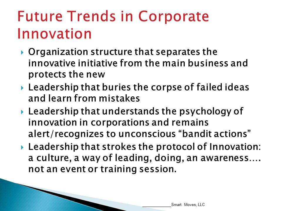  Organization structure that separates the innovative initiative from the main business and protects the new  Leadership that buries the corpse of failed ideas and learn from mistakes  Leadership that understands the psychology of innovation in corporations and remains alert/recognizes to unconscious bandit actions  Leadership that strokes the protocol of Innovation: a culture, a way of leading, doing, an awareness….