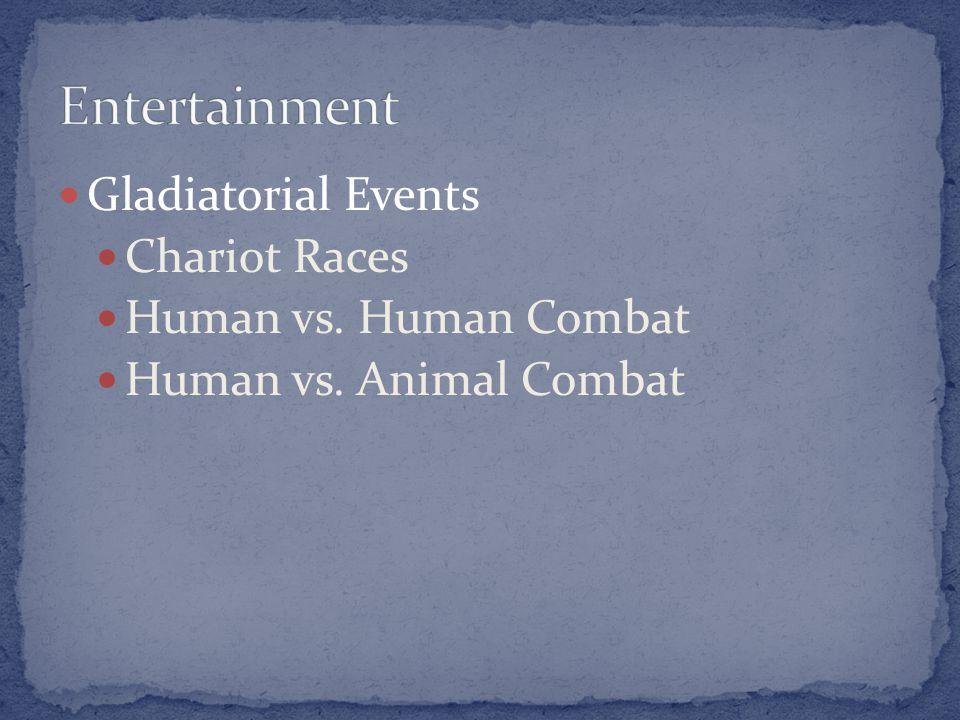 Gladiatorial Events Chariot Races Human vs. Human Combat Human vs. Animal Combat