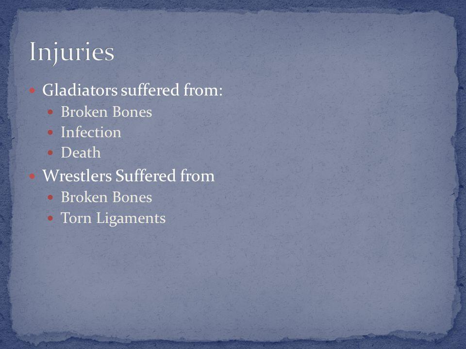 Gladiators suffered from: Broken Bones Infection Death Wrestlers Suffered from Broken Bones Torn Ligaments