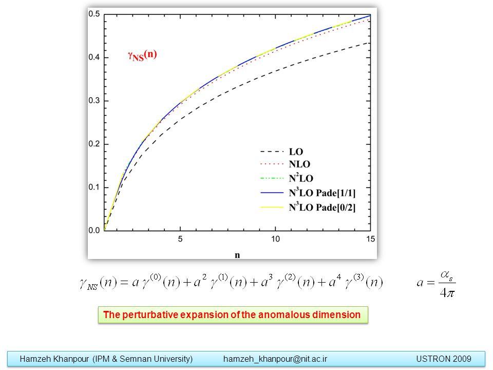The perturbative expansion of the anomalous dimension Hamzeh Khanpour (IPM & Semnan University) hamzeh_khanpour@nit.ac.ir USTRON 2009