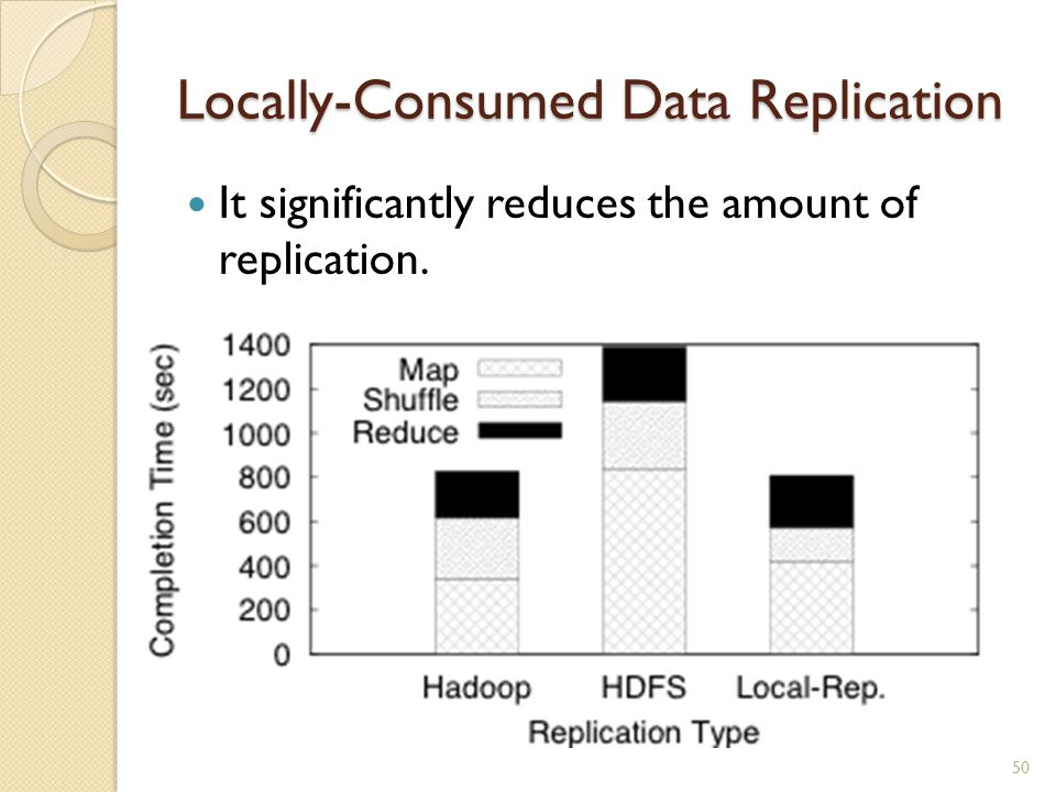 Locally-Consumed Data Replication It significantly reduces the amount of replication. 50