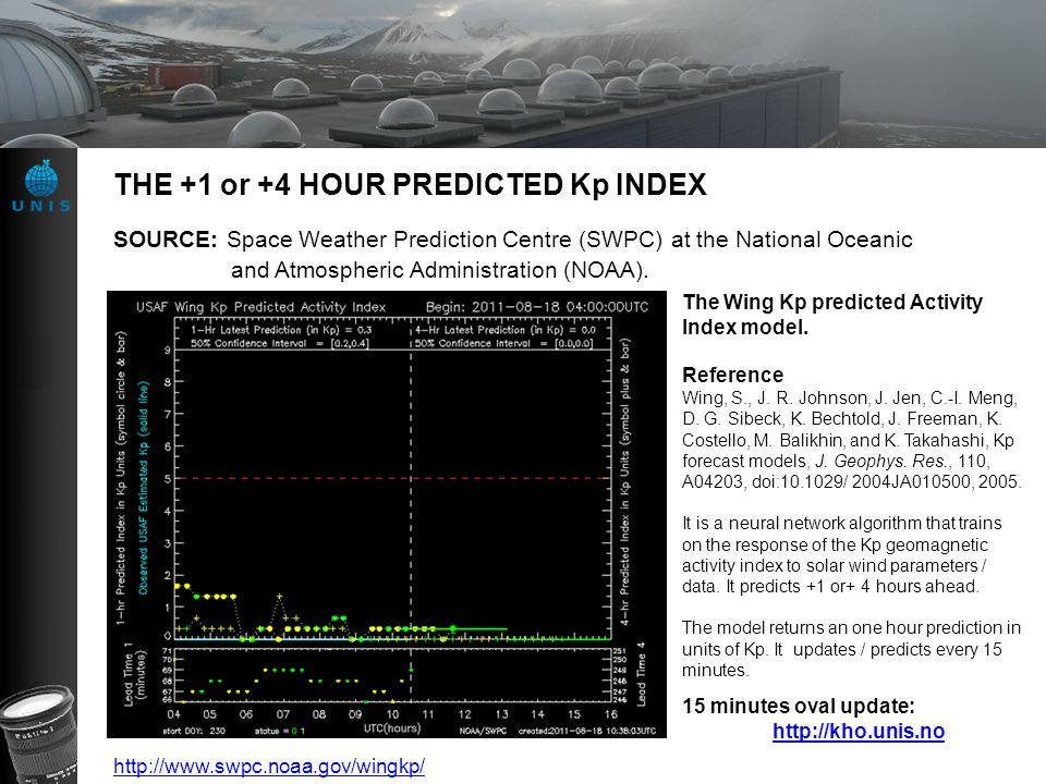 THE +1 or +4 HOUR PREDICTED Kp INDEX The Wing Kp predicted Activity Index model. Reference Wing, S., J. R. Johnson, J. Jen, C.-I. Meng, D. G. Sibeck,