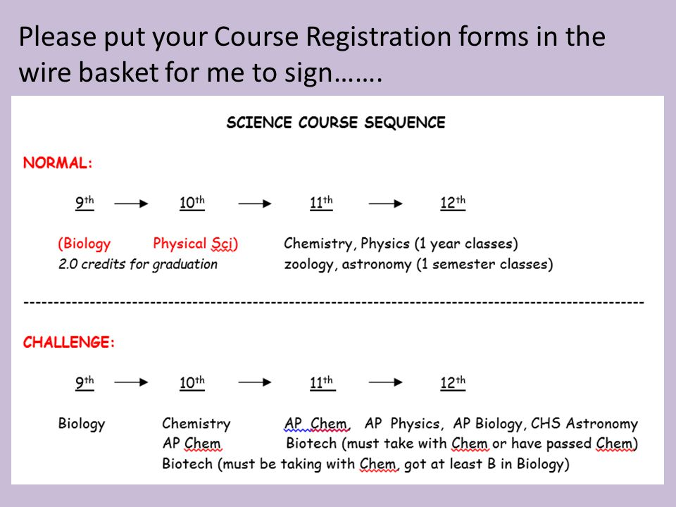 Please put your Course Registration forms in the wire basket for me to sign…….