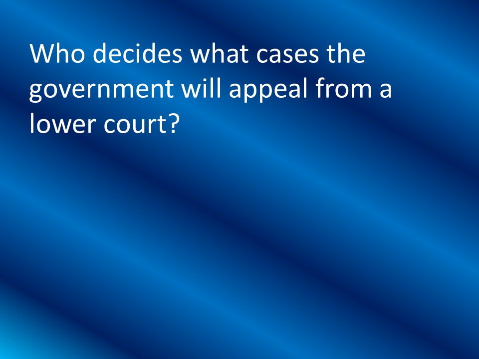 Who decides what cases the government will appeal from a lower court?