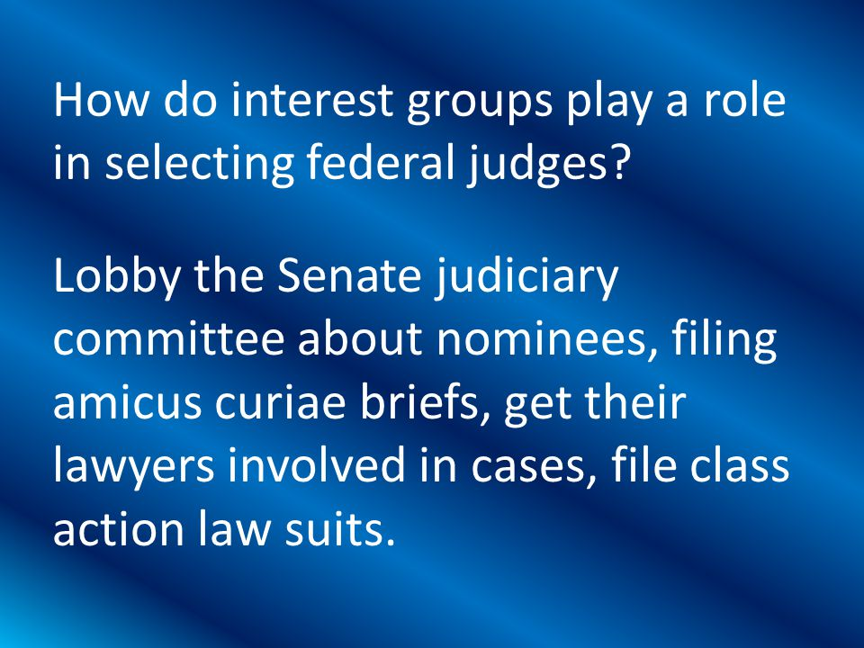 Lobby the Senate judiciary committee about nominees, filing amicus curiae briefs, get their lawyers involved in cases, file class action law suits.