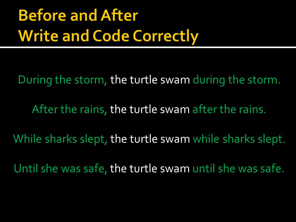  Until she knew she was safe, the sea turtle swam.  The sea turtle swam when the whale chased her.  At dawn, the sea turtle swam.  On the eve of t