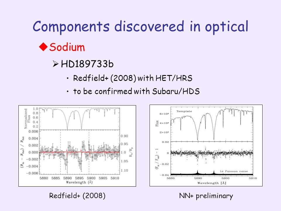 Components discovered in optical  Sodium  HD189733b Redfield+ (2008) with HET/HRS to be confirmed with Subaru/HDS Redfield+ (2008)NN+ preliminary