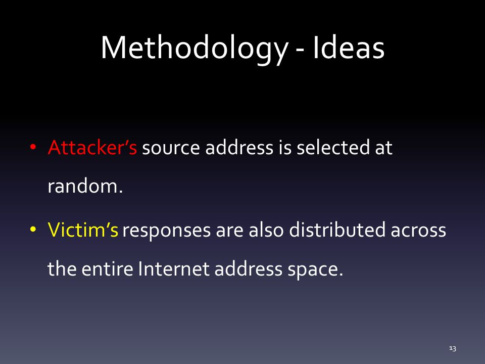 Methodology - Ideas Attacker's source address is selected at random.