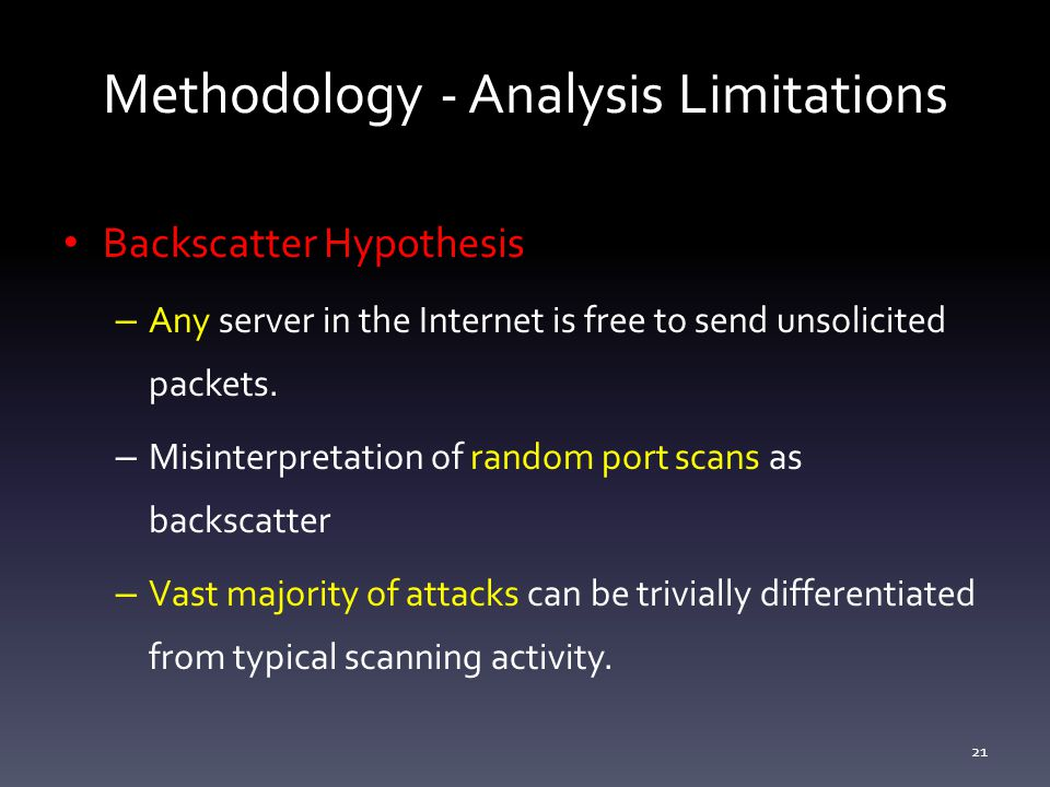 Methodology - Analysis Limitations Backscatter Hypothesis – Any server in the Internet is free to send unsolicited packets.