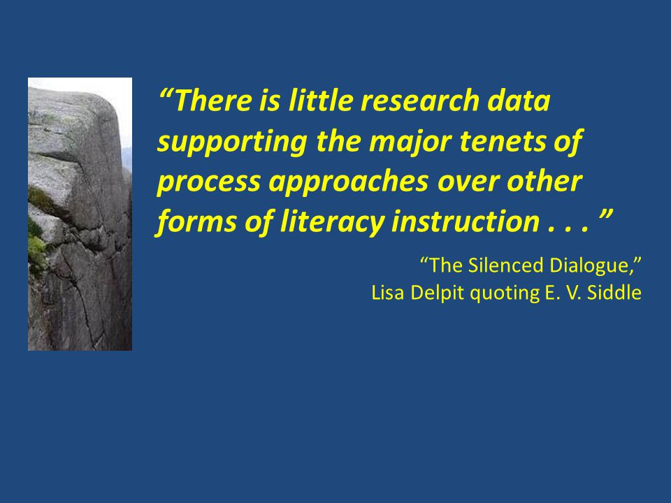There is little research data supporting the major tenets of process approaches over other forms of literacy instruction...