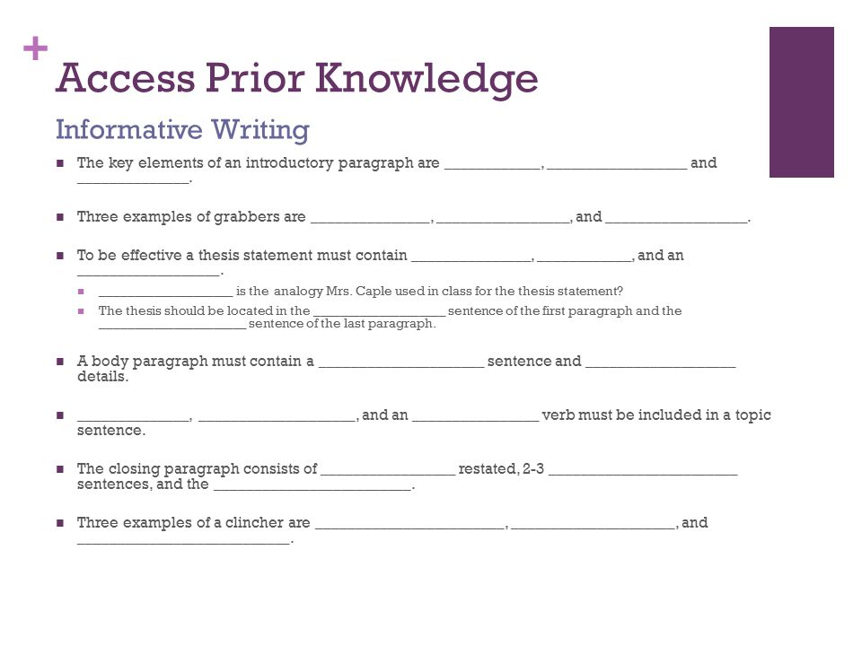 + Access Prior Knowledge The key elements of an introductory paragraph are ____________, __________________ and ______________.