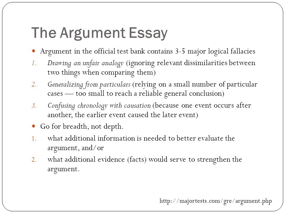 The Argument Essay Argument in the official test bank contains 3-5 major logical fallacies 1.